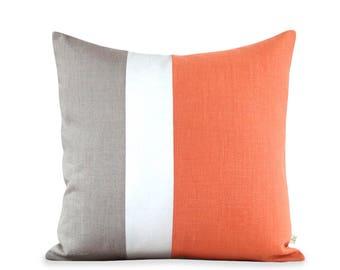 20x20 Color Block Pillow in Orange, Cream and Natural Linen by JillianReneDecor   Modern Home Decor   Gift for Her   Tangerine