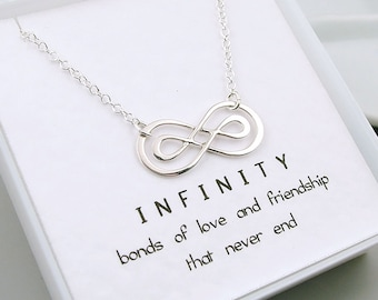 Double Infinity Necklace, Sterling Silver, Infinity Friendship Necklace, Best Friends, Sisters