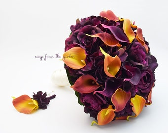Plum Roses Plum Burnt Orange Calla Lilies Bridal Bouquet Groom's Boutonniere - Customize for your Wedding Flower Colors