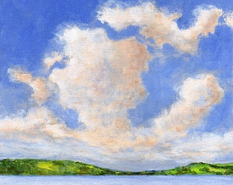 Original Landscape Painting on Canvas - Summer Clouds 8x8 Scandinavian Sky Low Horizon