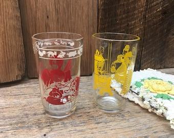 Small Vintage Juice Glasses/Kid's Glasses/Yellow/Red/Kraft/Swanky Swig