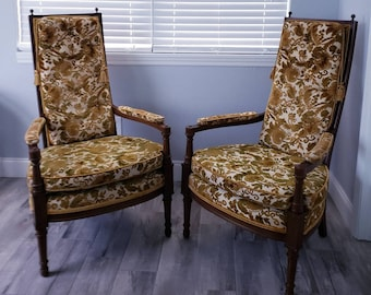 Retro floral Mid Century Chairs Pair