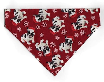 Boston Terrier CHRISTMAS Dog Bandana with a Pocket by K9 Just in CASE - Reversible! Santa Dogs