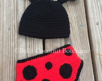 Ladybug Photo Prop, Crochet Ladybug Photo Prop, Crochet Newborn Outfit, Crochet Ladybug Outfit, Photo Prop, Newborn, 0-3 Months