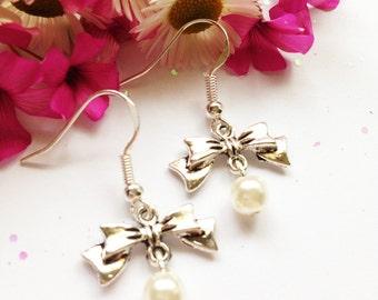 Faux Pearl Bow Earrings