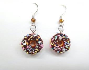 Funfetti Donut Charm, Doughnut Charm, Miniature Food Jewelry, Confetti Donut Charm, Donut Jewelry, Food Charms, Funfetti Charms,