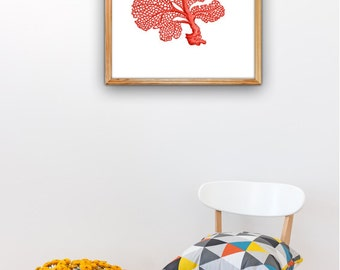 Red Sea fan coral II, A3 plus sized Poster Wall Art- Antique Illustration coral poster sea life print, Beach house SWC036A3P