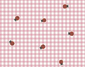 ORGANIC Cotton Ladybugs on Pink Gingham Windham Fabrics BFFS Collection Carolyn Gavin Baby Quilt Summertime Tablecloth Girl Sundress
