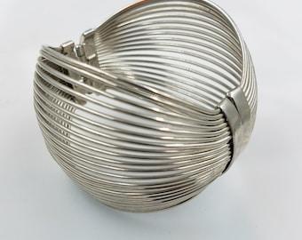 Silver Tone Wire Spring Closure Statement Bold Bracelet