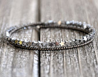 Silver Star Dainty Beaded Wrap Bracelet , Star Bangle, Galaxy Jewelry