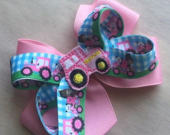 Pink tractor boutique hair bow girls hair bows toddler bows