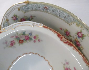 Vintage Mismatched China Oval Serving Vegetable Bowls with Imperfections - Set of 2