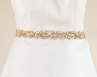 Wedding Sash, Gold and opal bridal sash, rhinestone encrusted sash, wedding belt, wedding dress belt, gold sash, bridal belt UK  - Style R23