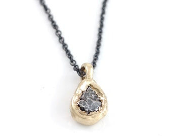 Meteorite Pendant in 14k Yellow Gold - Made to order
