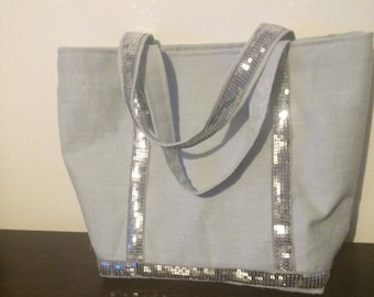 Light gray linen and 1 silver gray stripe tote bag