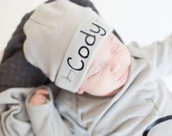 Grey personalized newborn boy name hat, newborn baby boy beanie, newborn hat, arrow baby hat, newborn boy beanie.hospital hat, take home hat