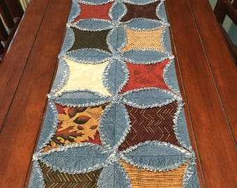Rag Quilt Runner Fall Raggy Denim and Fabric Table Runner Handmade Cathedral Window Autumn Ragged Edge Runner Fall Leaves Table Decor OOAK