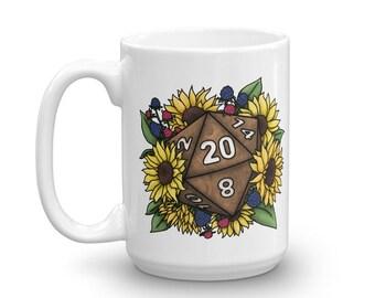 Sunflower D20 Mug - D&D Tabletop Gaming