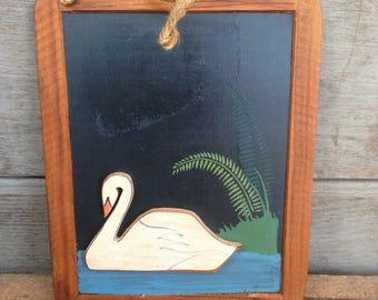 vintage chalkboard / chalkboard wall decor / swan home decor / kitchen decor / hanging chalkboard