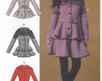 Womens Peplum Jackets or Coats & Belt With Hood or Peter Pan Collar McCalls Sewing Pattern M7442 Size 6 8 10 12 14 Bust 30 1/2 to 36 UnCut