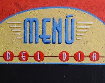 blackboard, retro, fifties, red, custom, menu blackboard, vintage, ochre, blue, custom blackboard, 1950's, handmade lettering