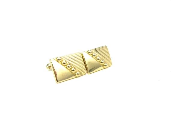 Vintage Anson Mens Cuff Links. Retro Gold Tone Geometric Stripes, Balls. C. 1950s