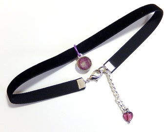 Purple Choker Necklace, Black Velvet Choker, Glass Pendant Necklace, 90s Jewelry, Grunge, Retro