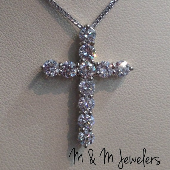 14K White Gold Shared Prong Set Round Brilliant Cut Diamond Cross Pendant tw 1.85ct