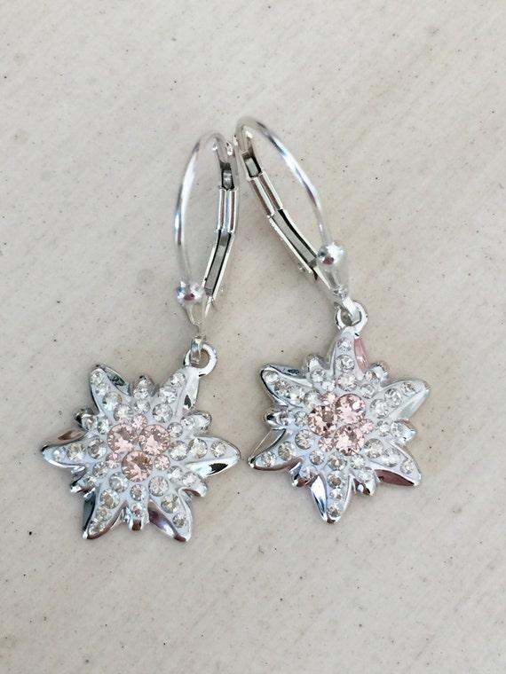 Vintage Rose Edelweiss Swarovski Crystal Earrings, Sterling Silver