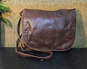 Vintage 1990's Dark Brown Soft Leather Medium Size Shoulder Bag