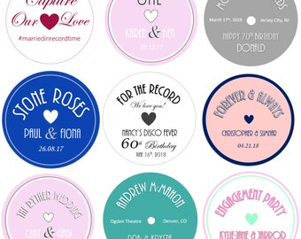 Custom Vinyl Record Label Wedding Invitation Table Theme 50s 60s 70s 80s Decoration Retro Disco Vintage Birthday Save the Date Sticker