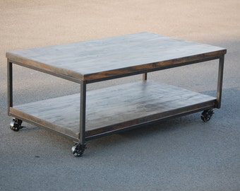 Exceptional Rustic Industrial Coffee Table With Caster Wheels FREE SHIPPING