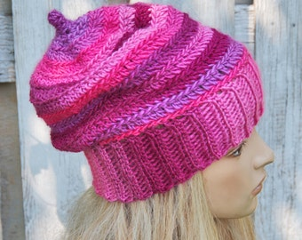 Pink crochet Hat Chunky crochet Hat Striped Beanie Pink hat Women's beanie Winter accessories Gift for her Degra2 Slouchy hat Winter hat
