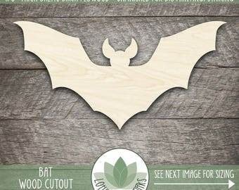 Bat Laser Cut Wood Shape, Halloween Bat, DIY Halloween Craft Supplies, Halloween Decor, Wood Bat Cut Out Shape, Blank Wood Shapes