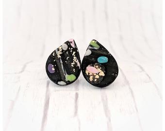 Neon earrings graffiti earrings polymer clay jewelry graffitti earrings nickel free earrings student gift for her polymer clay earrings