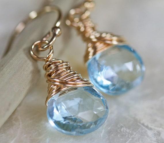Topaz Earrings - Blue Topaz Earrings - Topaz and Gold Earrings - Topaz Briolette Earrings