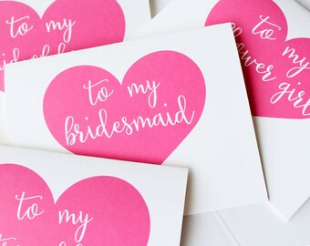 To My Bridesmaid Card, To My Flower Girl, Wedding Party Thank You Cards, Thank you for Being My Bridesmaid card, (Set of 7), WCS002
