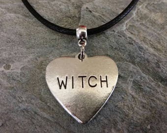 Witch pendant necklace, witch heart charm necklace
