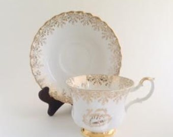 Fine Bone China, Happy Anniversary Cup and Saucer
