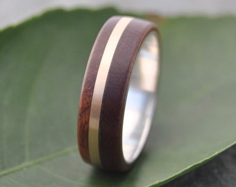 Size 8, 6mm READY TO SHIP Solsticio Oro Nacascolo - sustainable wood, 14k yellow gold and recycled sterling ring