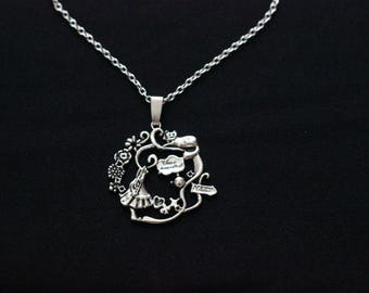 Alice in Wonderland Through the looking glass Alice and the Cheshire Cat Intrincate Silver Handmade Necklace Fantasy Fairytale