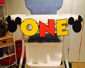 Mickey Mouse ONE High Chair Banner High Chair Banner I Am 1 Banner Mickey Party Banner Mickey Birthday Banner Mickey Decoration