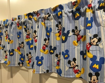 Disney Mickey Mouse Blue Stripes Valance Curtain