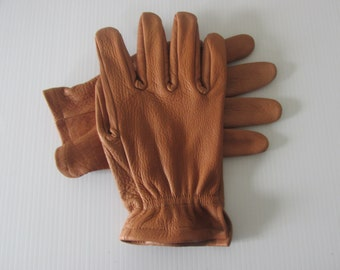 Saddle Brown Buffalo skin leather work gloves - made in the USA