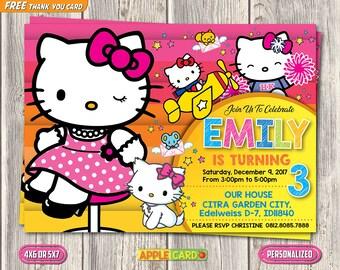 Hello Kitty Invitation, Hello Kitty Birthday Invitation, Hello Kitty Digital Printable, Baby Girl Birthday Invitation, FREE Thank You Card