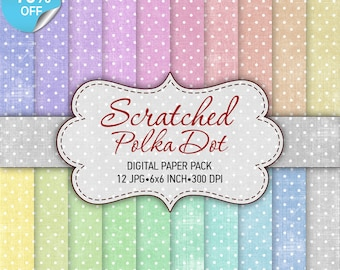 75% OFF SALE Digital paper pack Scratched Polka Dot - Pastel colors printable paper pack sheets digital polka dot paper scrapbook supplies