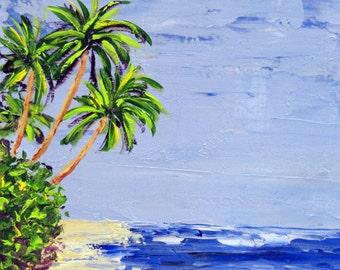 Palm trees on beach, Original Acrylic palette knife on wood panel, seascape painting, beach house decor, gift