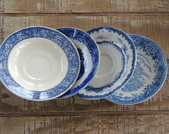Blue and White Mismatched Saucers Set of 4, Tea Party,  Plates for Wedding, Cottage Chic, Vintage, Replacement China