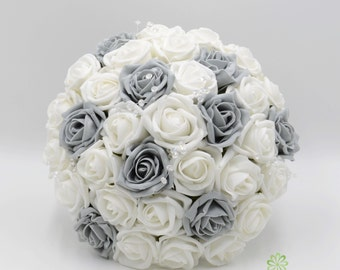 White rose bouquet etsy artificial wedding flowers grey white rose brides bouquet posy mightylinksfo
