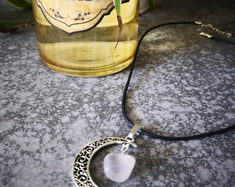 Necklace Crescent Moon ametrine Crystal healing jewelry woman witchcraft magic wicca pagan moon esoteric stone metal silver